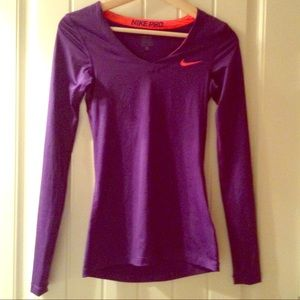 Nike pro fitted long sleeve purple with Dri-fit